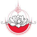 Vector drawing with outline black Lotus flower, red dots and swirls isolated  Stock Images