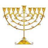 Vector drawing of outline golden Hanukkah menorah or Chanukiah candelabrum isolated on white background. Ornate Chanukah menorah. Vector drawing of outline vector illustration