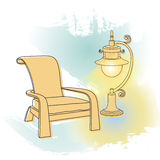 Vector drawing.  Outlines lamp and armchair. Stock Image