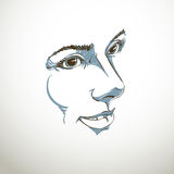 Vector drawing of pensive woman thinking about something. Black Stock Photos