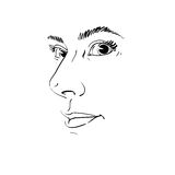 Vector drawing of pensive woman thinking about something. Black. And white portrait of attractive still lady, visage features Royalty Free Stock Images