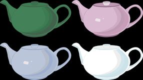 Teapots, isolated, porcelain, linear, vector, different colors royalty free illustration
