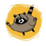 Cute raccoon. Vector drawing, raccoon, full-length, linear drawing, in color on a yellow background stock illustration