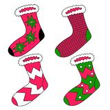 Vector drawing set of socks. Bright design element. Use as a sticker, decorative idea. Celebrating Christmas and New Year. vector illustration