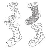 Vector drawing set of socks. Contour design elements. Use as a sticker, decorative idea and for kids colouring book. Vector drawing set of socks. Contour design stock illustration