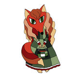 Vector drawing of a red fox in a green long-necked dress with a handbag Royalty Free Stock Photography