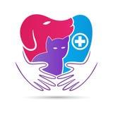 Pet care clinic hospital logo. A vector drawing represents pet care clinic medical logo concept design vector illustration