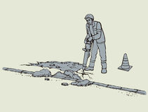 Vector drawing. Roadworks. Construction worker with jackhammer Stock Image