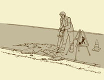 Vector drawing. Roadworks. Construction worker with jackhammer Royalty Free Stock Photo