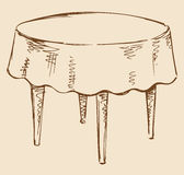 Vector drawing. Round table with tablecloth royalty free illustration