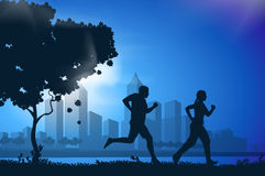 Vector drawing running athletes. Authors illustration in vector Stock Image
