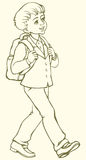 Vector drawing. Schoolboy goes to school Royalty Free Stock Photography