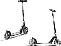 Sketches of the scooters Stock Photography