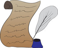 Vector drawing of the scroll and ink Royalty Free Stock Photos
