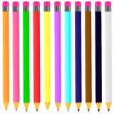 Vector drawing a set of multi-colored pencils in the white background royalty free illustration