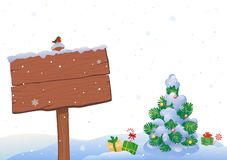 Christmas tree and signpost stock illustration