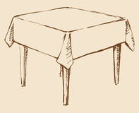 Vector drawing. Square table with tablecloth Stock Photos