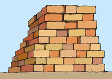 Vector drawing. Stack of red bricks royalty free illustration