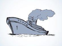 Vector drawing. Steamship Royalty Free Stock Photos