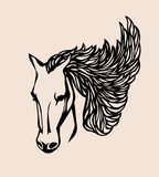 Head horse vector.Vector silhouette stencil horse head with lace developing mane on beige background .Arabian horse. stock illustration