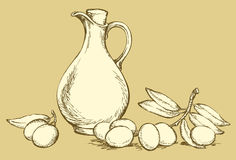 Vector drawing. Still life of oil in jug and olive royalty free illustration