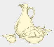 Vector drawing. Still life of oil in jug and olives sprigs. Vector monochrome line drawing style of antiquity engravings. Still life of corked jug with oliveoil Stock Photography