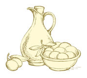 Vector drawing. Still life of oil in jug and olives sprigs Royalty Free Stock Photo