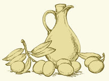 Vector drawing. Still life of oil in jug and olives sprigs. Vector monochrome line drawing style of antiquity engravings. Still life of corked jug with oliveoil Royalty Free Stock Photography
