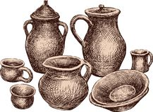 A collection of the different earthenware. All objects isolated. Vector drawing of the still-life of the various ceramic ware Stock Photo