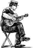 Busker. Vector drawing of the street musician vector illustration