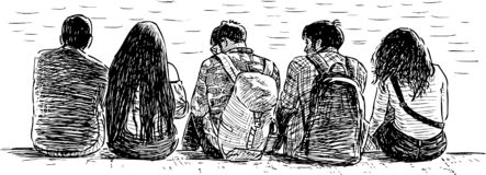 Sketch of young citizens sitting on the river embankment royalty free illustration