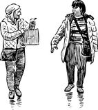 Sketch of the casual women pedestrians Royalty Free Stock Photos