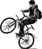 Active cyclist. Vector drawing of the teenager actively riding a bike vector illustration