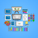 Vector drawing tools style Royalty Free Stock Photos