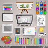 Vector drawing tools style. set 10 Stock Image