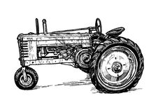Vector drawing of tractor stylized as engraving Stock Photography