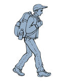 Vector drawing. Traveler with a backpack going up the path Royalty Free Stock Photo