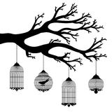 Vector drawing of the tree with cages Stock Photo