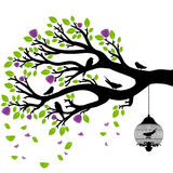Vector drawing of the tree with cages Royalty Free Stock Images