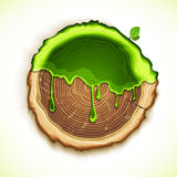 Vector drawing tree cut with green gel concept Royalty Free Stock Photos