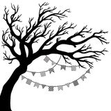 Vector drawing of the tree with flags. Vector illustration of the tree silhouette with flags Stock Photo