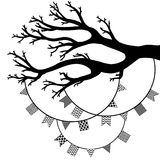 Vector drawing of the tree with flags Royalty Free Stock Photography