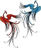Vector image of the flying fabulous birds Stock Image