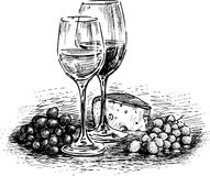 Glasses, cheese and grape. Vector drawing of two glasses of wine with cheese and grapes royalty free illustration