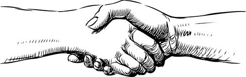 Handshake. Vector drawing of two hands in handshake Royalty Free Stock Image