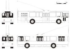 Vector drawing urban trolleybus stock photography