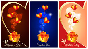 Vector drawing on Valentines Day. Vector drawing on Valentine's Day with hearts and a gift Stock Photo