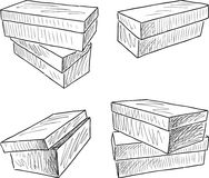 Sketches of the boxes for footwear. Vector drawing of the various boxes for shoes Royalty Free Stock Images