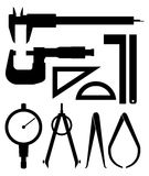Measuring Tools Silhouette. Vector drawing of various measuring tools vector illustration