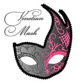 Vector Drawing of Venetian Mask. Illustration of Venetian Carnival Mask. Vector Carnival Mask Royalty Free Stock Images